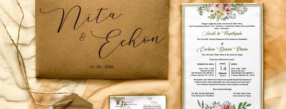 Undangan Pernikahan Nita & Echon - Rustic invitation single hardcover