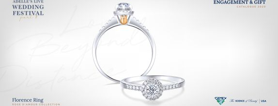 Adelle Jewellery Florence Rose D'Amour Solitaire Ring-Cincin Tunangan