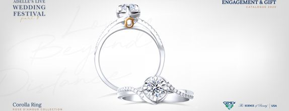 Adelle Jewellery Corolla Rose D'Amour Solitaire Ring - Cincin Tunangan
