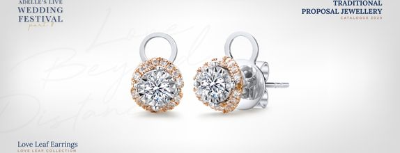 Adelle Jewellery Love Leaf Diamond Earrings - Anting Berlian