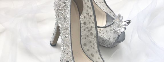 DHYNE - SILVER - 12cm - Flower Crystal - Bride Shoes - Party Shoes
