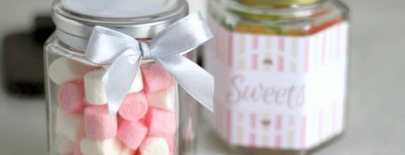 Personalized hexagonal jar candy (Gold)