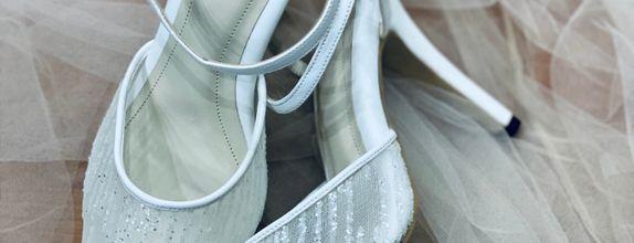 White Glitter Stripe Basic Heels