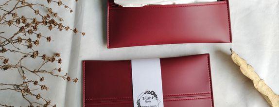 Souvenir pernikahan tissue pouch kulit asli imitasi