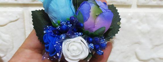 001 elektrik blue corsage bros bunga jas