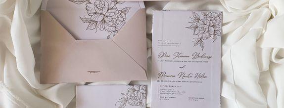 Olvan & Flo - single hardcover wedding invitation