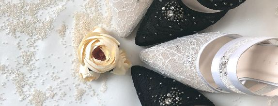 LUCIA - BLACK/WHITE - 9cm - Wedding Shoes - Bride Shoes - Party Shoes
