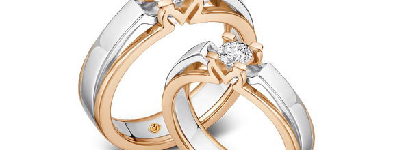 DP MOIRA TWO-TONE DIAMOND WEDDING RING (GROOM'S RING)