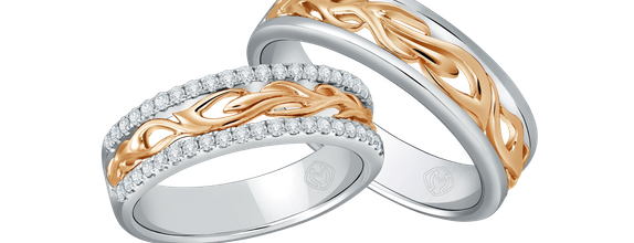 DP TEX SAVERIO FIRE COLLECTION DIAMOND WEDDING RING (1 PAIR)