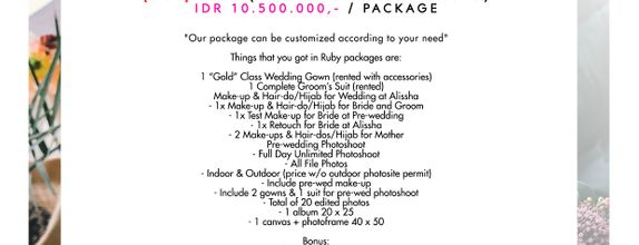 "Paket Bridal Wedding ""Ruby"" (GOWN-MAKEUP-PHOTO) [HOT]"