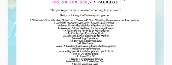 "Paket Bridal Wedding ""Platinum"" (Full Bridal Package) [CUSTOM GOWN]"
