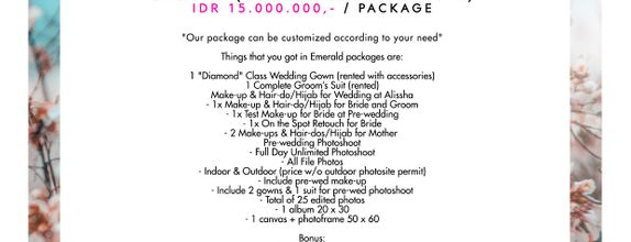 "Paket Bridal Wedding ""Emerald"" (Gown-Makeup-Photo)"
