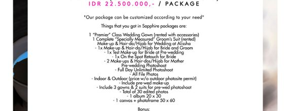 "Paket Bridal Wedding ""Sapphire"" (Gown-Makeup-Photo)"