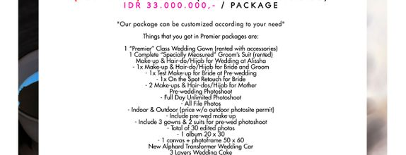 "Paket Bridal Wedding ""Premier"" (Full Bridal Package) [BEST DEAL]"