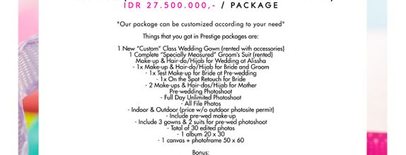 "Paket Bridal Wedding ""Prestige"" (Gown-Makeup-Photo) [CUSTOM GOWN]"
