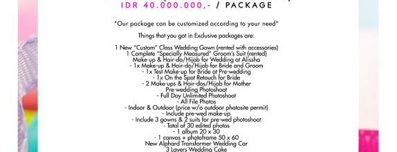 "Paket Bridal Wedding ""Exclusive"" (Full Bridal Package) [CUSTOM GOWN]"
