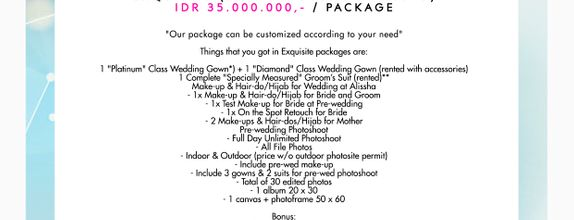 "Paket Bridal Wedding ""Exquisite"" [CUSTOM GOWN ALL TYPE]"
