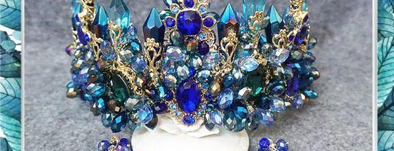 mahkota Sultan blue crystal aksesoris pengantin Luxury wedding MMSSS