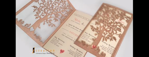 Paket 50pcs Simple Bookstyle Invitation with Laser Cut Tree
