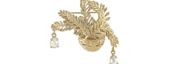 Ferns with Dew Drops Brooch Gold Dip
