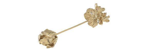 Dew Drops on Lotus Pin Gold Dip