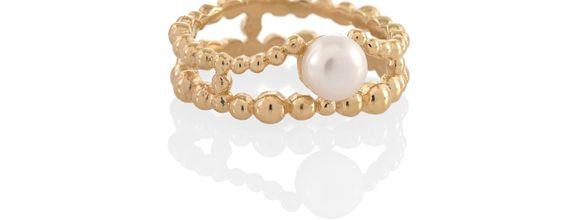 Double Jawan Dewata Ring Pearl Gold Dip
