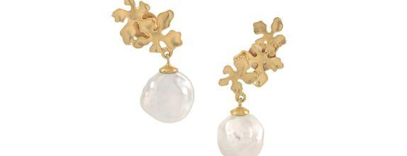 Flora Nirwana Baroque Drop Earrings Gold Dip