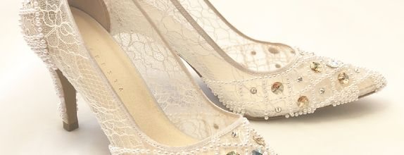 VINETTE - WHITE - Cream Stones - 9cm - Bride Shoes - Party Shoes