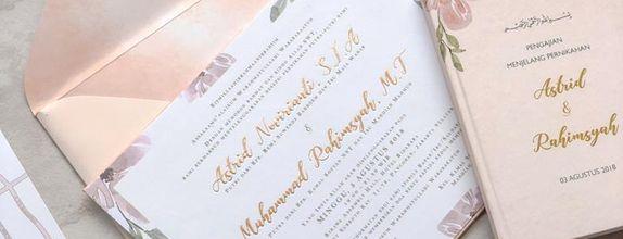 Peach floral wedding - single board invitation