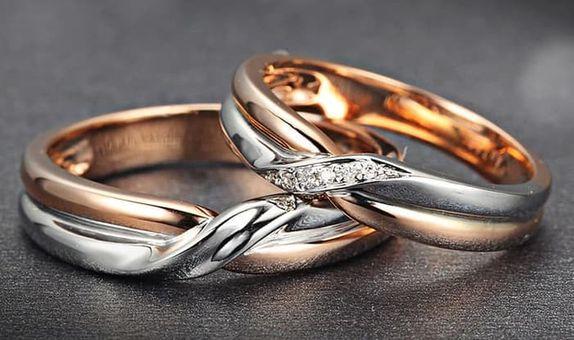 TIARIA Crossed Roads Diamond Wedding Ring Perhiasan Emas CIncin Nikah