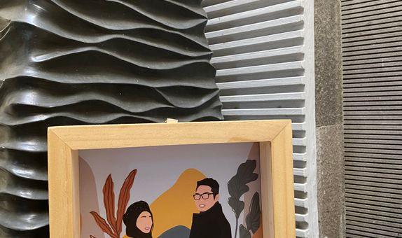 Illustration on Woodframe 15 x 15 cm