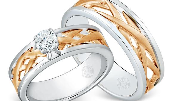DP TEX SAVERIO METAL COLLECTION DIAMOND WEDDING RING (1 PAIR)