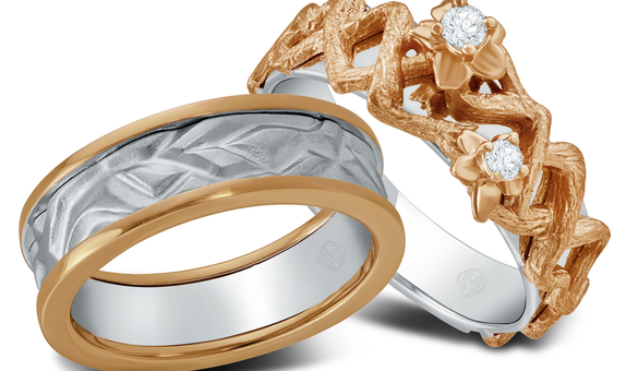 DP TEX SAVERIO EARTH COLLECTION DIAMOND WEDDING RING (1 PAIR)