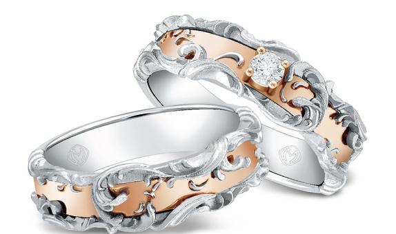 DP TEX SAVERIO WATER COLLECTION DIAMOND WEDDING RING (1 PAIR)