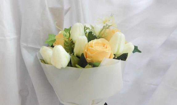 Artificial Yellow Roses and Tulip Bouquet