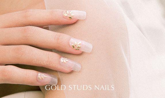 Wedding Nails (Gold Stud Nails)