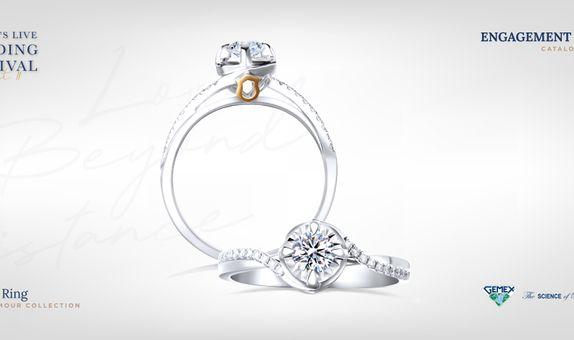 Adelle Jewellery Corolla Rose D'Amour Solitaire Ring - Cincin Tunangan