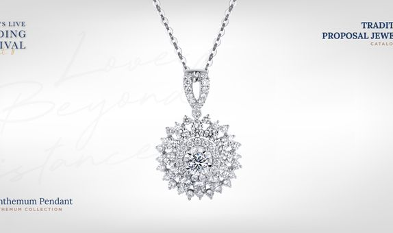Adelle Jewellery Chrysanthemum Diamond Pendant - Liontin Berlian