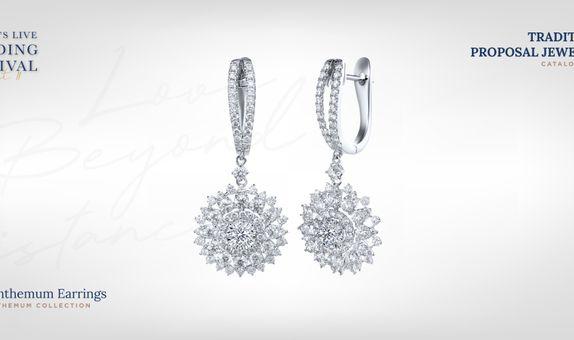 Adelle Jewellery Chrysanthemum Diamond Earrings - Anting Berlian
