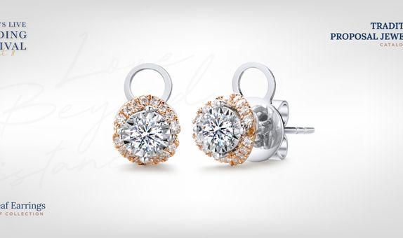 Adelle Jewellery Love Leaf Diamond Earrings - Anting Berlian