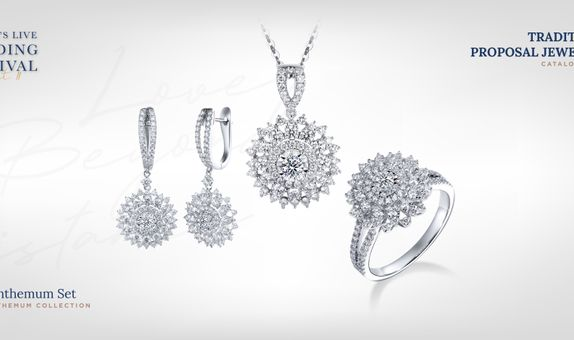 Adelle Jewellery Chrysanthemum Set Collection - Set Perhiasan Berlian