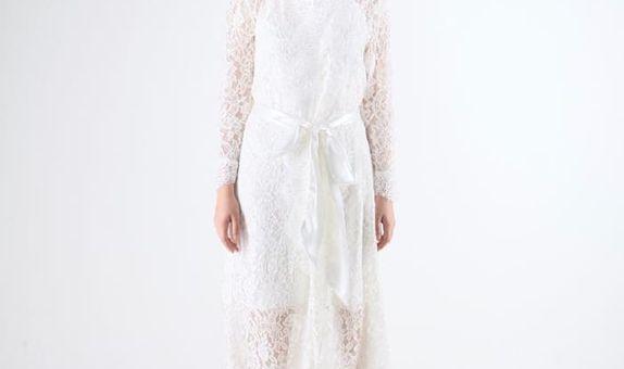 Classic Lace Robe 130 cm - White