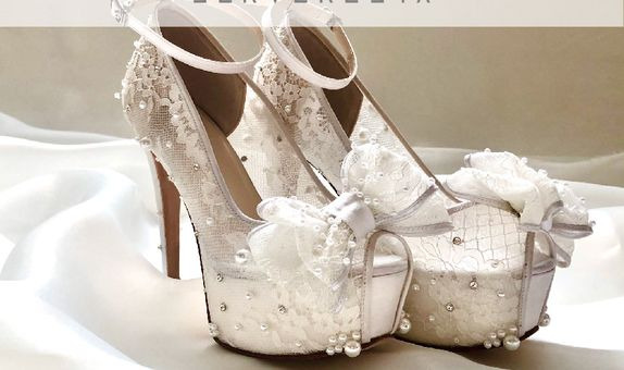 DHYNE - WHITE RIBBON- 12cm - Wedding Shoes - Bride Shoes - Party Shoes
