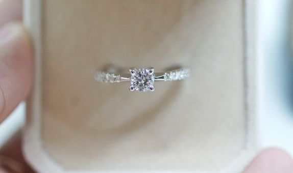 Crystals Jewelry - Pave Diamond Solitare Ring