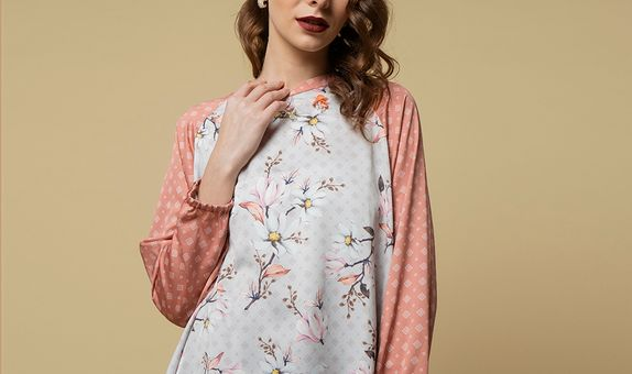 Aline Printed Silk Top With Embelishment