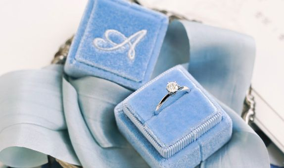 Square Single (with Personalization) Velvet Ring Box