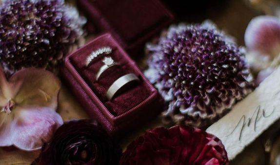 Triple Slot Rectangle Velvet Ring Box (Include Personalization)