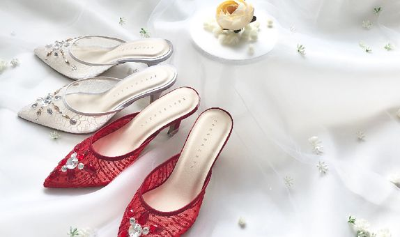 ELISE - RED/WHITE - 7cm - Wedding Shoes - Bride Shoes - Party Shoes