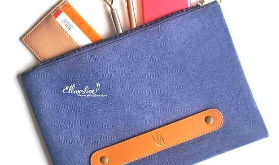 Denim Flat Pouch with Handle