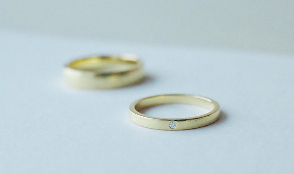 Flat Band Pairs Gold & Palladium Rings